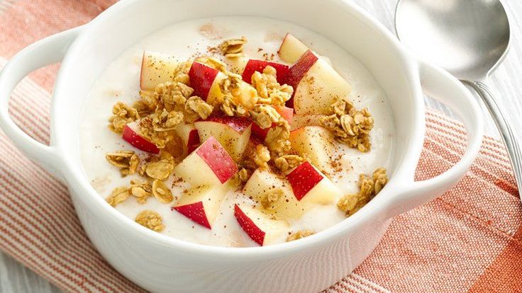 A topping of fresh apple and granola make this yogurt bowl a great choice for breakfast or a tasty snack.