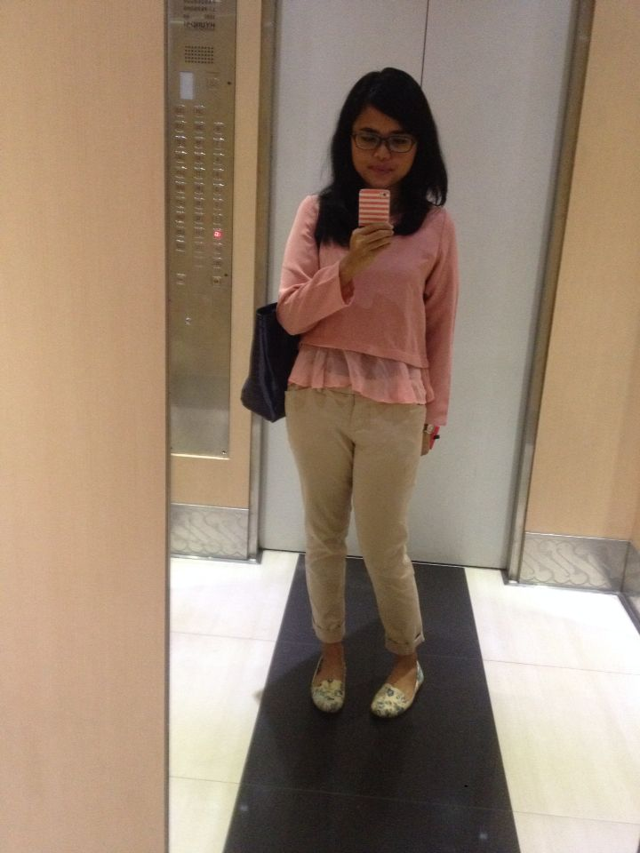 Casual pink long sleeve shirt with flowery shoes.