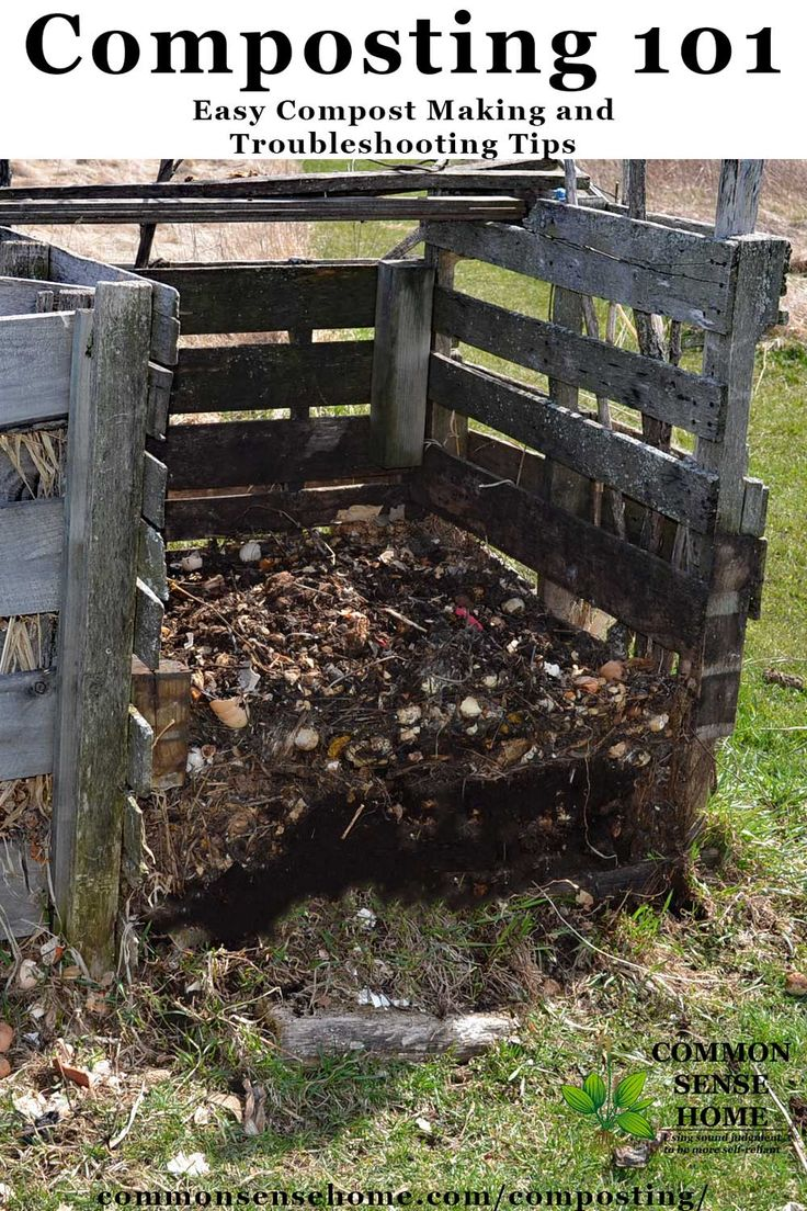Home compost bin made with pallets - The simplest way to compost is to stack everything in a pile and leave it for a couple of years, but there are methods you can use to keep things tidier and make compost faster. Composting does not have to be messy or stinky or too much work. In this article we'll cover how to compost, what to compost, compost bins and troubleshooting tips for common compost problems.