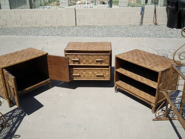 own rattan cabinets by thomasville can be used without the shelves as night stands or end tables my plan is to make a wall arrangement with them using