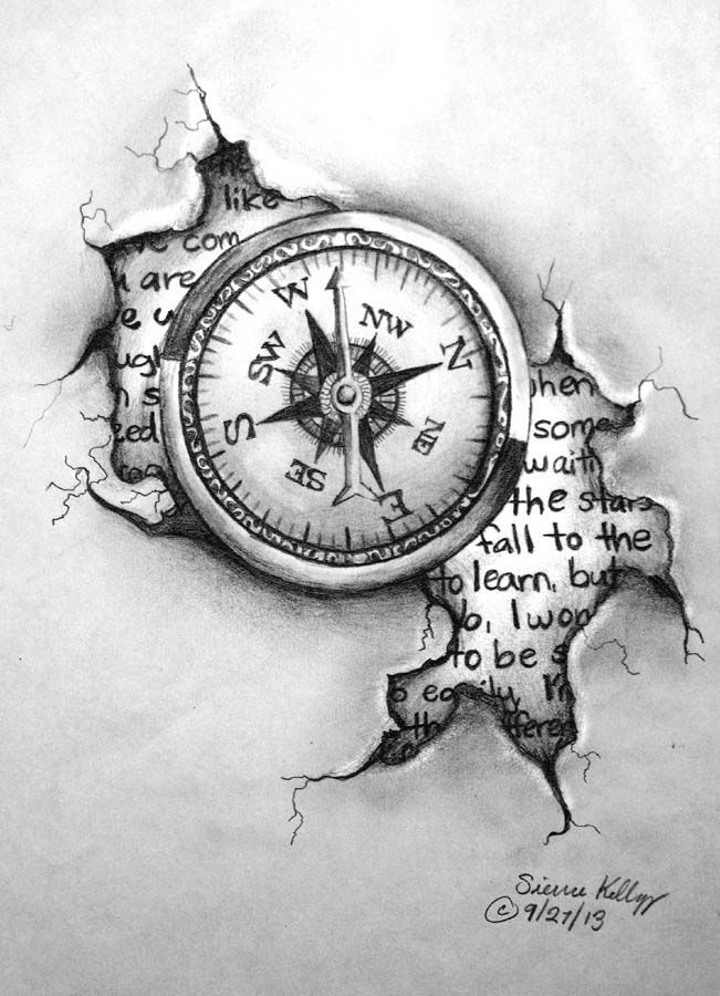 unique clock drawing tattoo design compass by