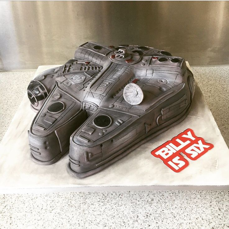 Millenium Falcon Star Wars  birthday cake.  Chocolate Mud cake with milk chocolate & peppermint ganache.  Covered with fondant