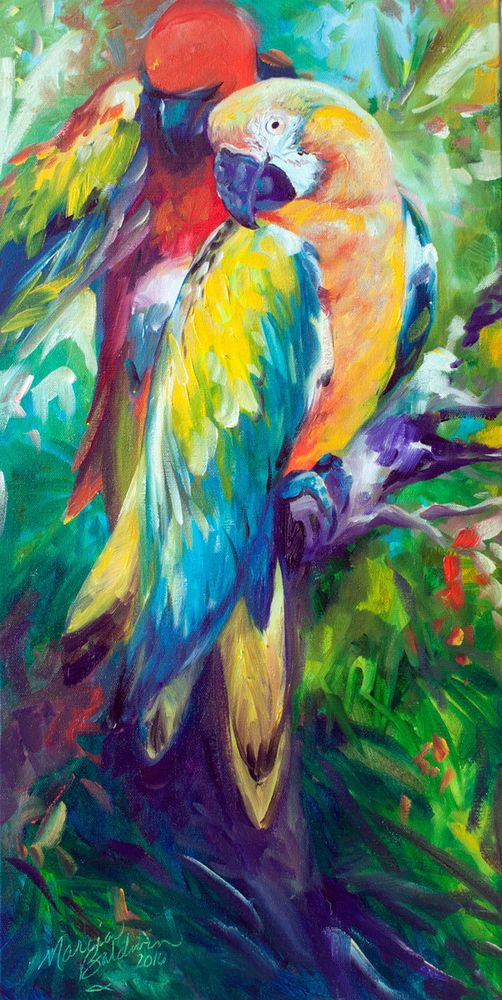 M BALDWIN ORIGINAL OIL PAINTING PARROT MACAW BIRD by MARCIA BALDWIN #Abstract