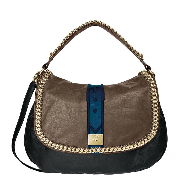 V73 New York Taupe/Blue Leather Bag whit zip closure , Chain decoration, Charms shown in photo included, Metal feet at the base 44 x 32 x 10 Shop now: http://www.v73.it/en/pelli-pregiate/new-york