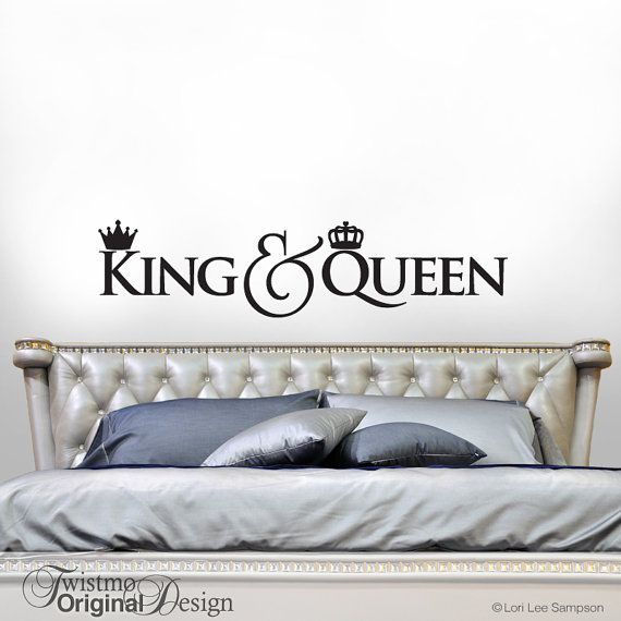 King and Queen Crown Decor, Bedroom Decor Wall Decal, Gift for Couple, Headboard Vinyl Wall Decal, Script Font Decal (0171b128v)