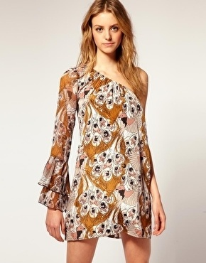 vero moda vero moda vintage bird print one shoulder dress at asos stylesays