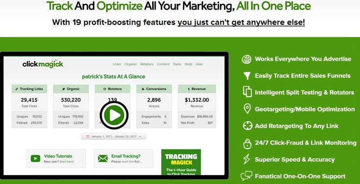ClickMagick is an awesome tracking service that helps you to track your ads and focus on where your most profitable clicks are coming from. This has been a game-changer for me, and the support is awesome as well. I would recommend ClickMagick to any serious marketer who is wanting to take their online business to the next level
