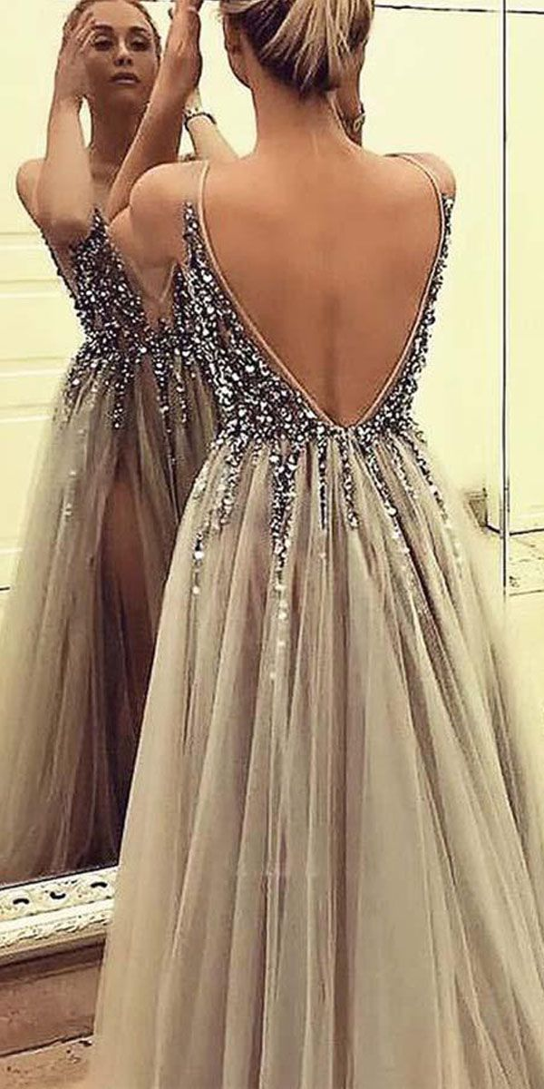 8324fab280 DEEP V-NECK BACKLESS SPLIT SWEEP TRAIN GREY PROM DRESS WITH BEADING PG365   promdresses  eveningdresses  tulledress  splitdress  grey  prommakeup   fashion   ...