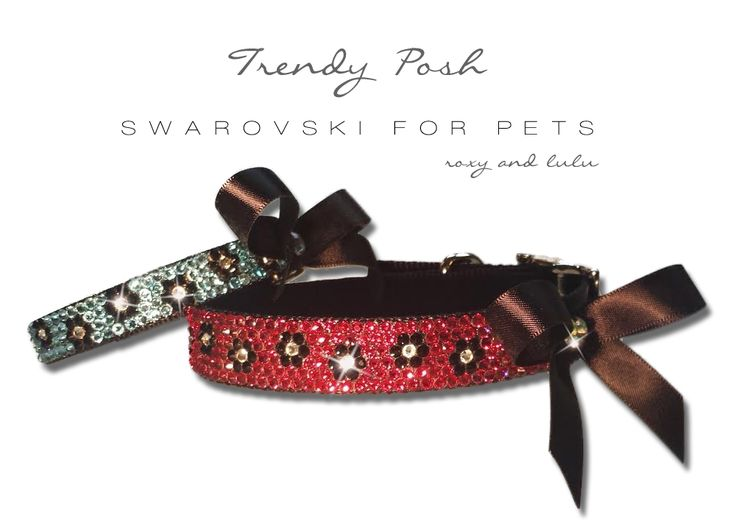 "Roxy and Lulu - Trendy Posh Swarovski Crystal Dog collars, available in 7 sizes (10""-22"")"