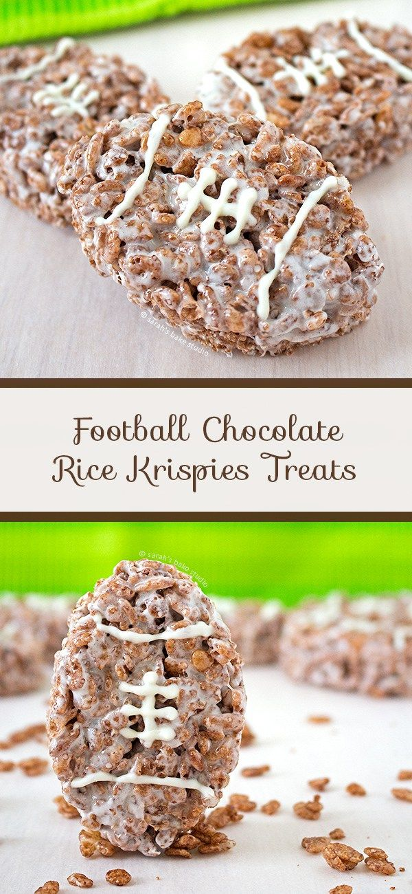 Football Chocolate Rice Krispies Treats – combine your love for  chocolate, Rice Krispies, and football with these easy and delicious  marshmallow, Cocoa Krispies treats; football and Rice Krispies Treats  fans unite!
