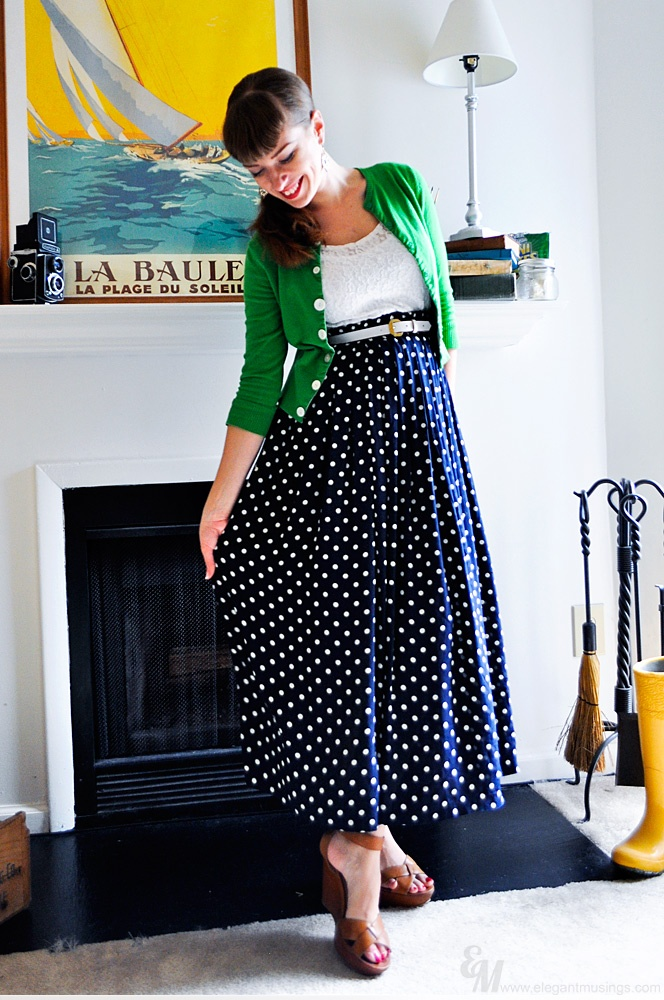 high waisted Maxi polka dot skirt- I wish I could rock this look...