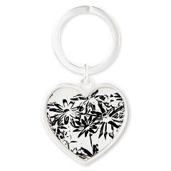 Transparent flowers Heart Keychain