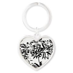 Transparent flowers Heart Keychain