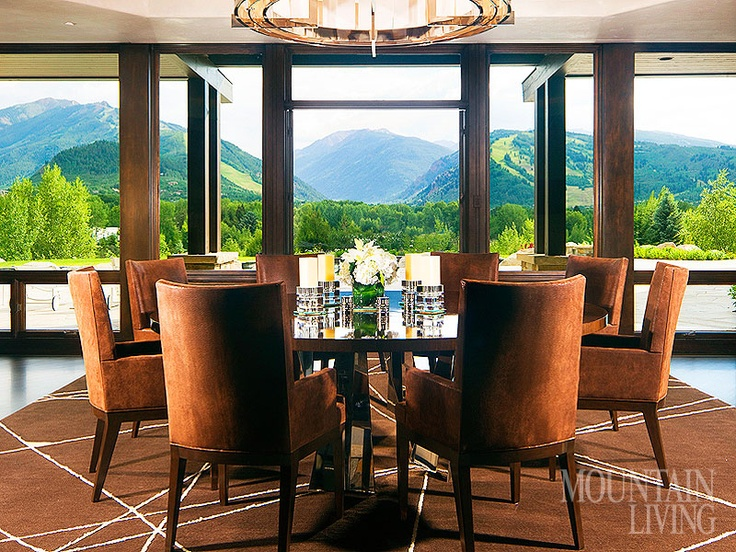 Aspen Home, Mountain View, Large Windows, Wood Trimming, Round Table, Brown  Chairs, Brown Rug, Chandelier, Mountain Modern ARCHITECTURE By Charles U2026