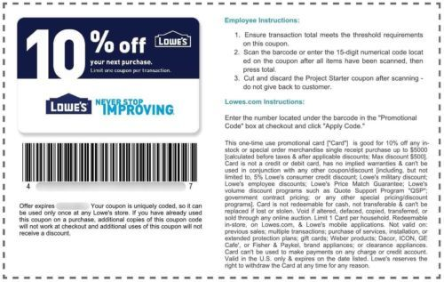 Coupons: 2 (Two) Lowes-10% Off Purchase-In-Store And Online Discount-Expiration: 8 31 2017 -> BUY IT NOW ONLY: $3.95 on eBay!