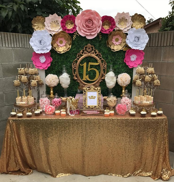 adorable pink and gold dessert table by  petals n more