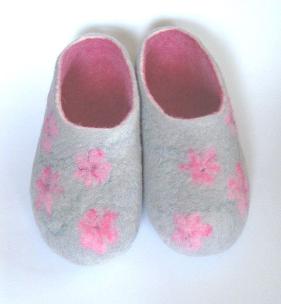 Felt Slippers Women  Wool Home Shoes Gray With by kristianafelt, $30.00