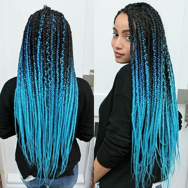 Top 100 ombre hairstyles photos two weeks old,  still okay... #bluehair #blueombrehair #ombrehair #ombreboxbraids #boxbraids #bluebraids #braids #braidstyles #rastazöpfe #blauehaare #türkis #turquoisehair #azure #longhair #longboxbraids #hairinspo #hairinspiration #haircolour #hairbraiding #coloredboxbraids #coloredhair #ombrehairstyles See more http://wumann.com/top-100-ombre-hairstyles-photos/