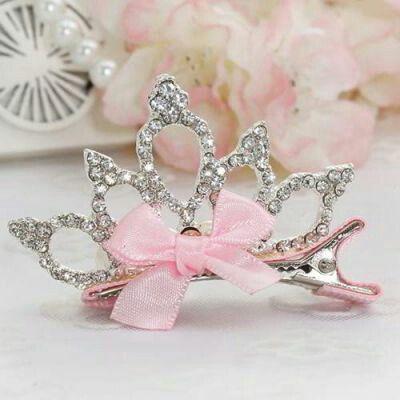 JRK Kids Crown Bowknot Hair Clip Pink | pinknee.com