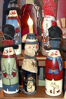 Painted wine bottles