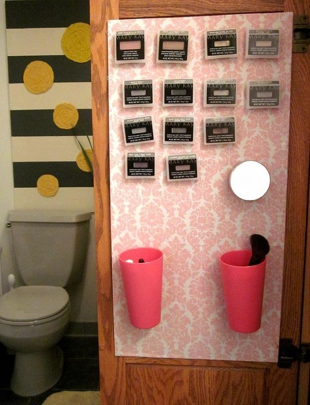 Hang Cosmetics Right on the Bathroom Wall. | Community Post: 19 Insanely Clever Organizing Hacks