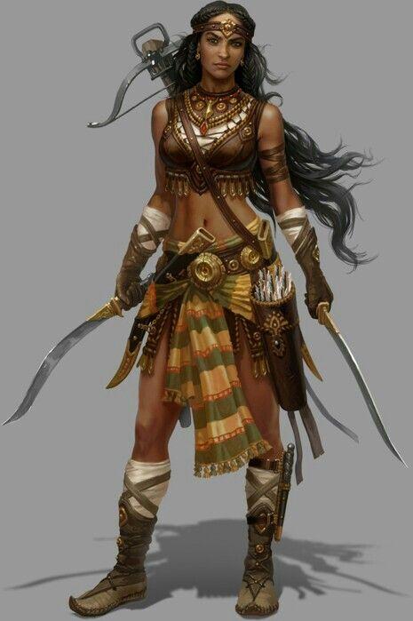 Ossirian Desert-Warden/female/human ranger w/ twin-kopesh & Light Crossbow.