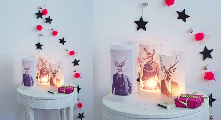 Ces photophores en calque imprimé donnent une note surréaliste à la déco. Parsemés dans toute la maison, ils diffusent une lumière délicate tout en apportant des touches modernes et ...