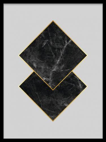 Black marble, poster. Grafisk poster med marmor. Snygg grafisk poster med trianglar i svart marmor och guldkant på grå bakgrund. Trendig poster som matchar fint med inredning i marmor och guld.