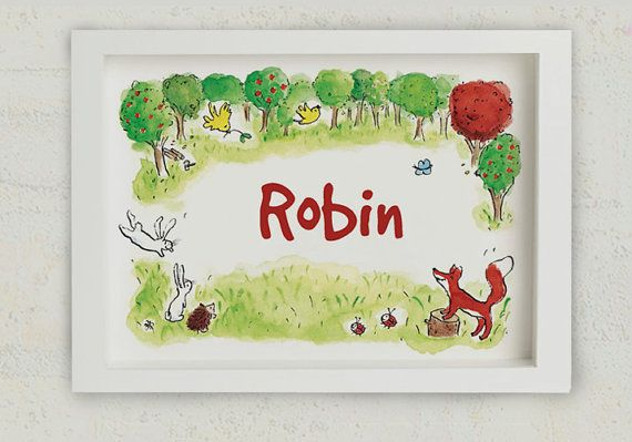 Do you see the two little birds? What color is the butterfly? How many rabbits do you count?  And is that your name in the middle?    A