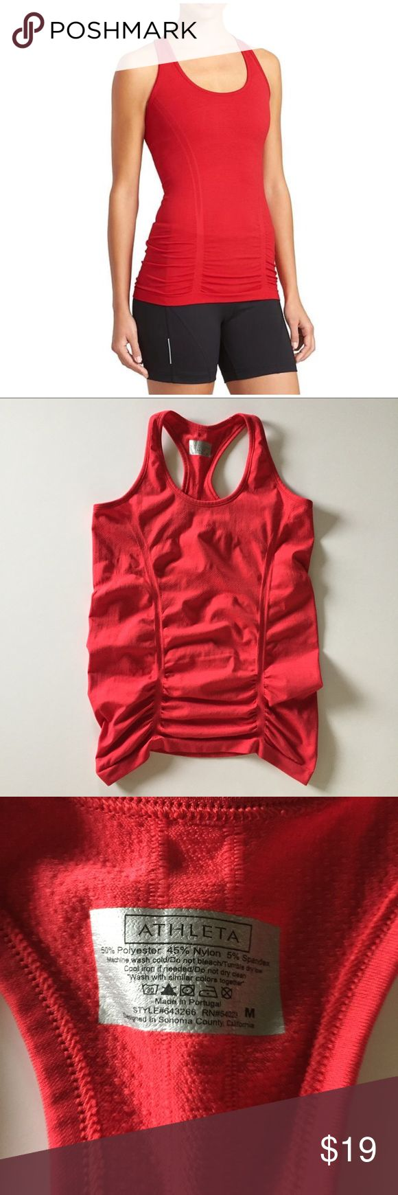 "Athleta Fastest Track tank in red Fastest Track tank from Athleta in size medium. Excellent condition! 15"" from underarm to underarm and 24"" long. ""Your favorite, go-to training tank for high-intensity sweat sessions has our best technologies: Unstinkable, Regul8, and chafe-free seamless fabric. INSPIRED FOR: run, gym/training, studio workouts Racerback gives you full range of arm motion Shirring along the front and back is fit to flatter Gripper dots along hem stop it from riding up.""…"