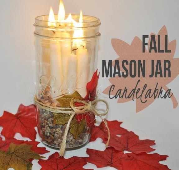 Fall Mason Jar Candelabra