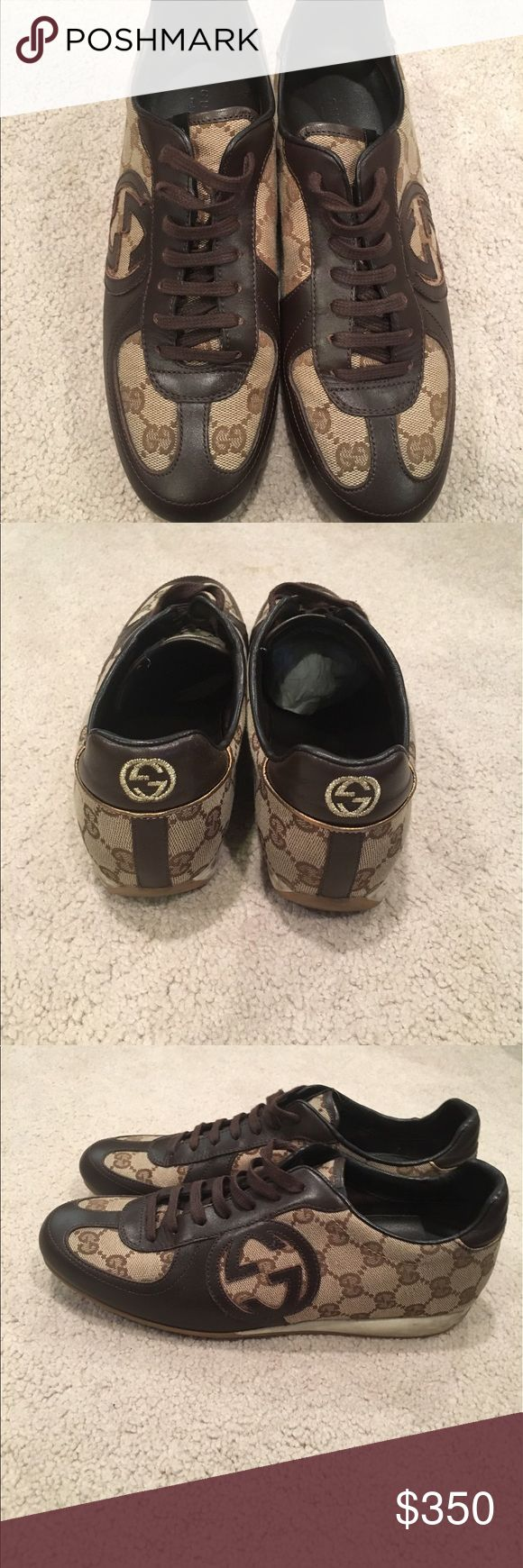 Gucci GG brown leather sneakers Gently used Excellent condition GG brown leather sneakers. Includes original box extra Gucci laces and duster bag Gucci Shoes Sneakers