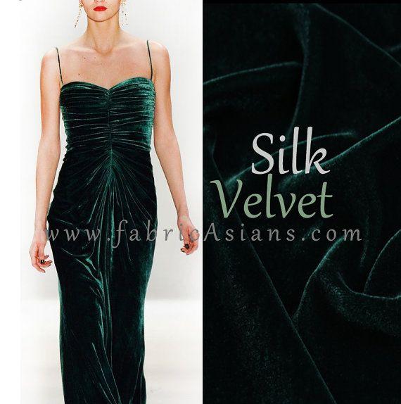 """Solid Green Velvet. Green Silk Velvet.  Velvet fabric. Width 45"""". SV100789"""