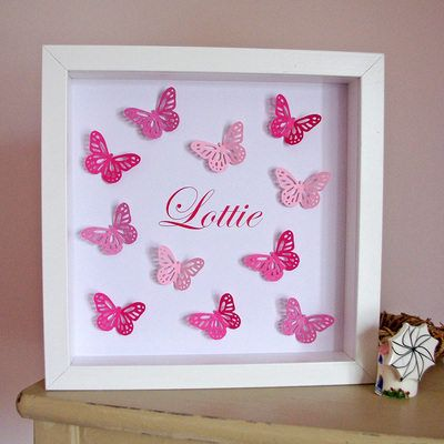Lolly & Boo - Pink Paper Butterflies Art - Personalised Picture Made to Order - Great for New Baby or Christening Gift £46.50 from Sanibel Home Interiors