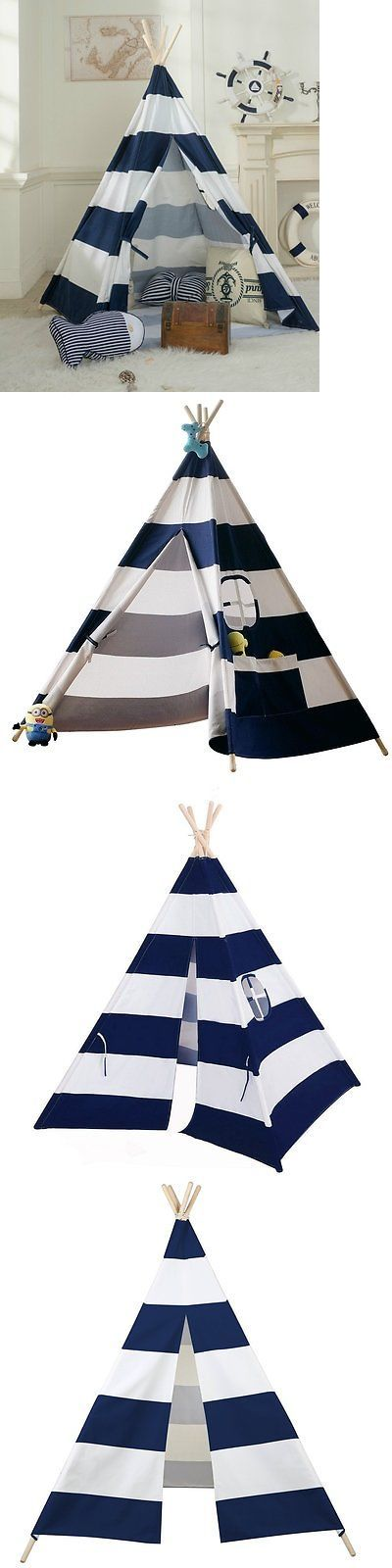 Play Tents 145997: Kids Cotton Canvas Teepee Tent W Carry Case Kids Playhouse Best Gift Navy Stripe -> BUY IT NOW ONLY: $62.99 on eBay!