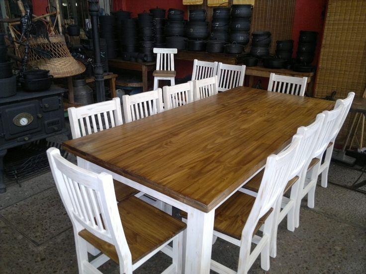 mesa de comedor grande 1 x 2.20 decapada - despintada