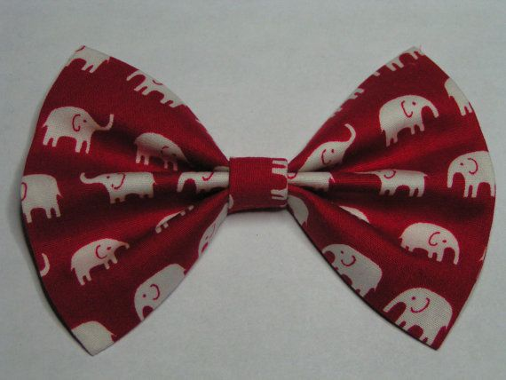 4x3 Red and White Elephants fabric hair bow clip, Hair clips for kids and teens, hair clips for women, small hair bows
