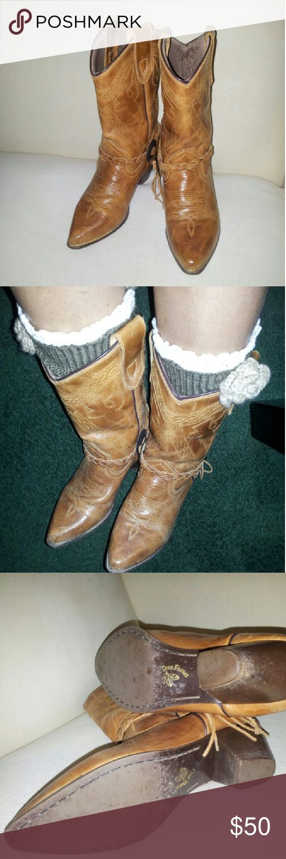 cowboy oak tree farm boots vintage  Oak Tree Farms  brown  leather cowboy boots,  6m (medium ) my shoe  size 5.5 it is fit good. oak tree farm  Shoes Heeled Boots