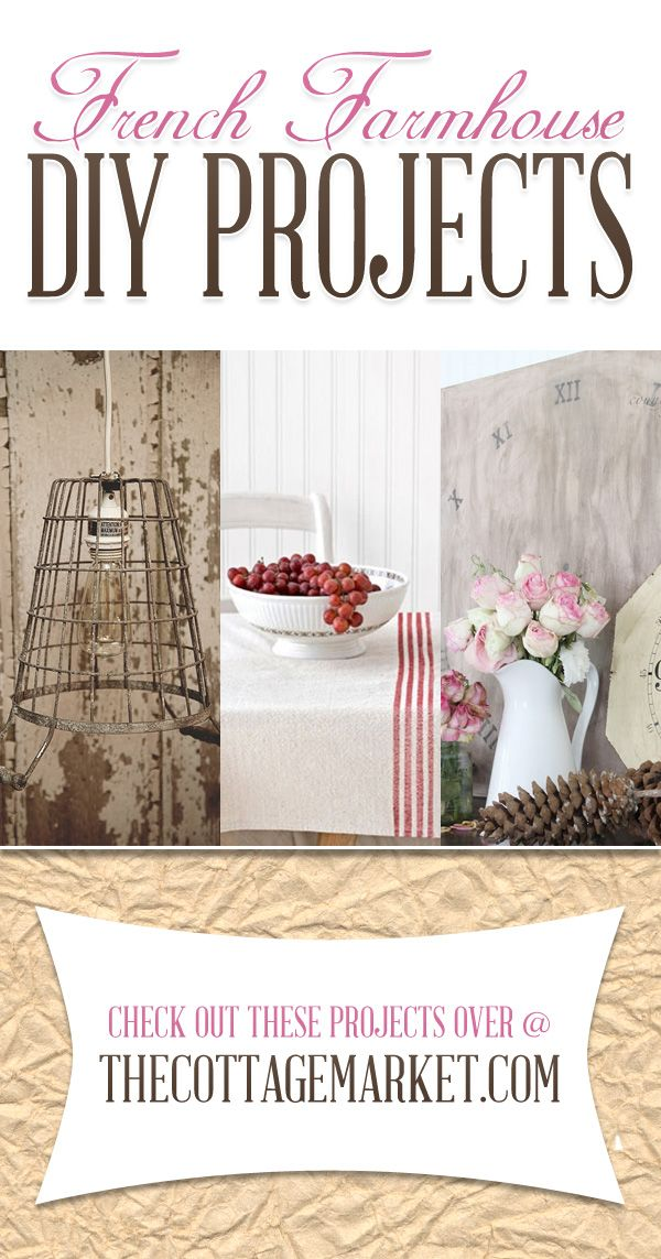 Do you have a soft spot in your heart for French Farmhouse Decor? Does chippy paint and roses make your heart skip a beat? If the answer is yes…we have a wonderful Collection of French Farmhouse DIY Projects waiting for you here today.http://www.thecottagemarket.com/2014/04/french-farmhouse-diy-projects.html