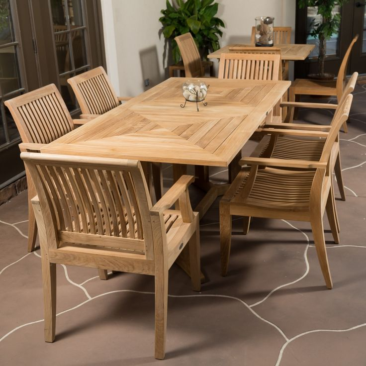 7 Pc Pyramid Teak Patio Set