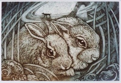 Young Hares by Louise Scott (etching)