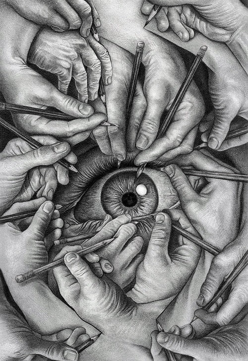 """""""Drawn to See"""" by James Lincke. Original in colour."""