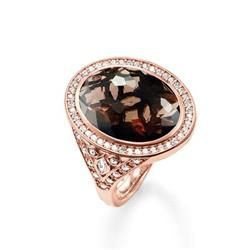Eternity of Love Smoky Quartz, Rose Gold Cocktail Ring, Size 54