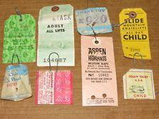 (8) 1970's vintage used ski lift tickets passes, Aspen Mammoth Mt. Reba Squaw