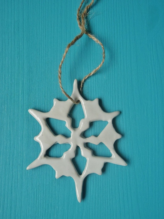 Ceramic wall hanging decoration star/snow star white by kelverum, $8.00