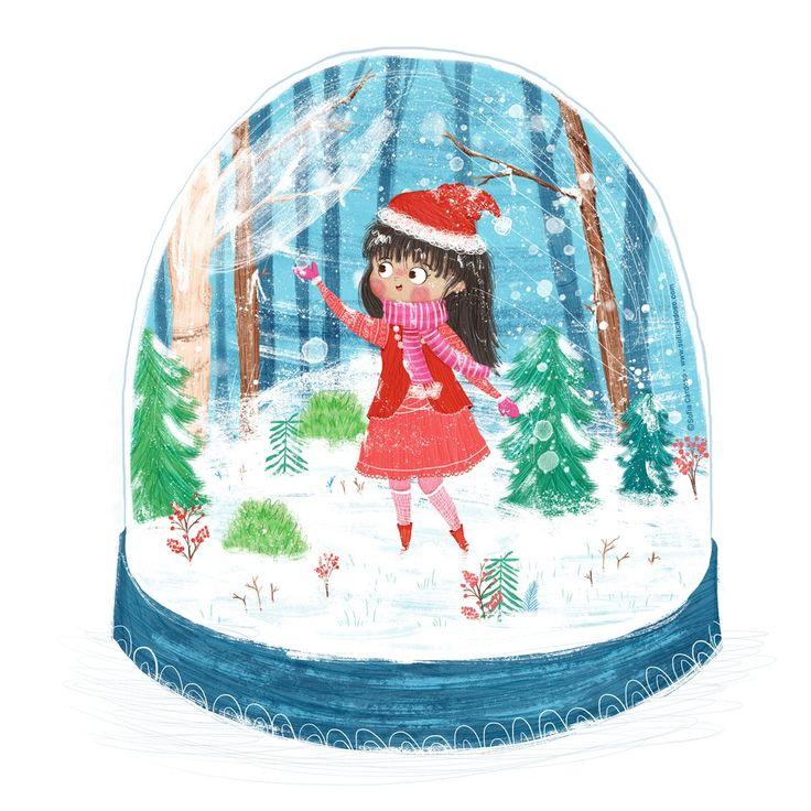 Merry Christmas! children's illustration by Sofia Cardoso #illustration #kidlitart #snowglobe