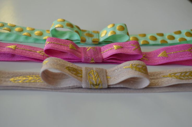 Set of 3 - Elastic Bow Headbands - Fold Over Elastic Headbands - Mint Polka Dot Headband - Pink Arrow Headband - Taupe Feather Headband by Moonpennieskids on Etsy https://www.etsy.com/listing/217387407/set-of-3-elastic-bow-headbands-fold-over
