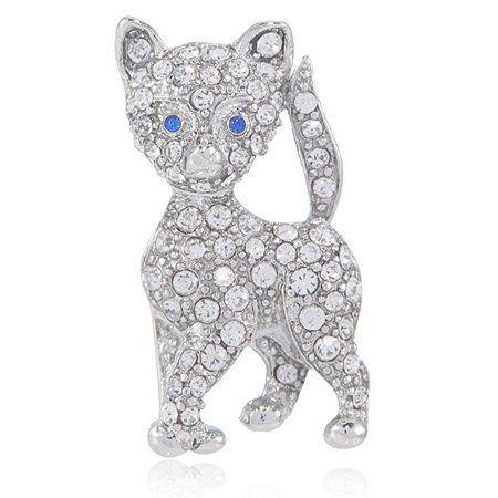 Bill Skinner Crystal Pave Cat Brooch