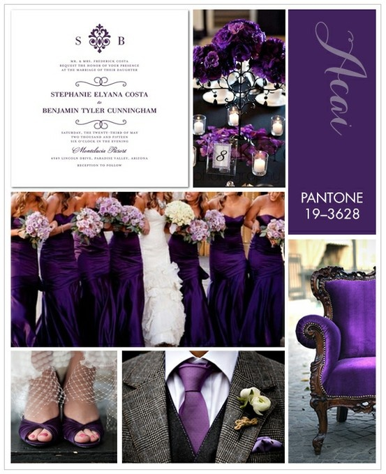 Rich, exotic Pantone Acai is a regal shade of purple, ideal for an elegant fall wedding. To keep with a dark and moody theme, pair this hue with dark grays and touches of crisp white.