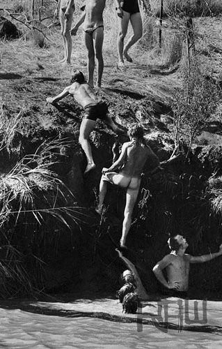 Crowd Swimming Sunbury Musical Festival Australia 1974 Photographer Philip Morris